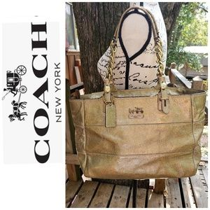 Metallic Gold Coach Large Handbag  Authenic